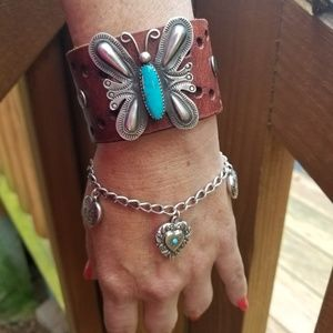 Navajo Turquoise Butterfly Leather Cuff